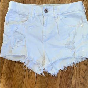 White Ripped highwaisted shorts
